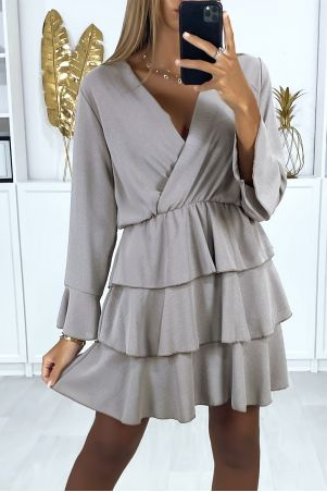Grijze cross-over jurk met lange mouwen en volant aan de onderkant