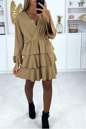 Taupe-jurk met lange mouwen en volant aan de onderkant