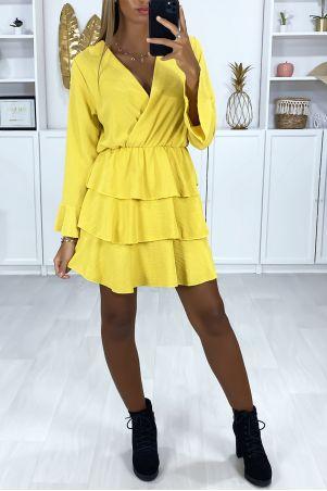 Geel gekruiste jurk met lange mouwen en volant aan de onderkant