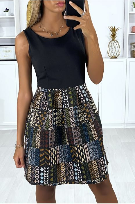 Black Bi Material Dress With Aztec Pattern On The Skirt Women S Clothing
