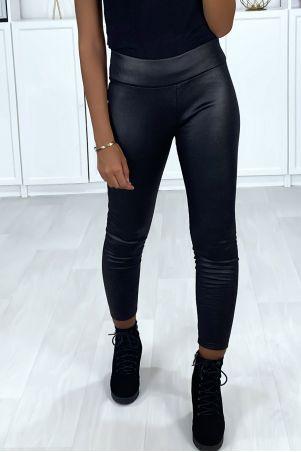 Black shiny effect leggings with fleece inside