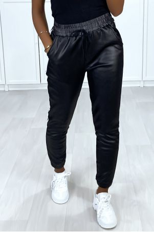 Black shiny effect joggers with bands and fleece pocket inside
