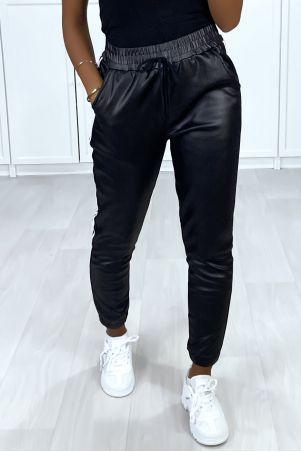 Zwarte joggingbroek met glanzend effect met banden en fleece zak aan de binnenkant