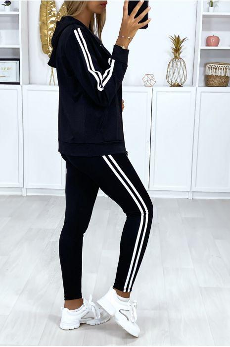 Ensemble fitness 3 pièces legging débardeur et gilet noir à bande doré