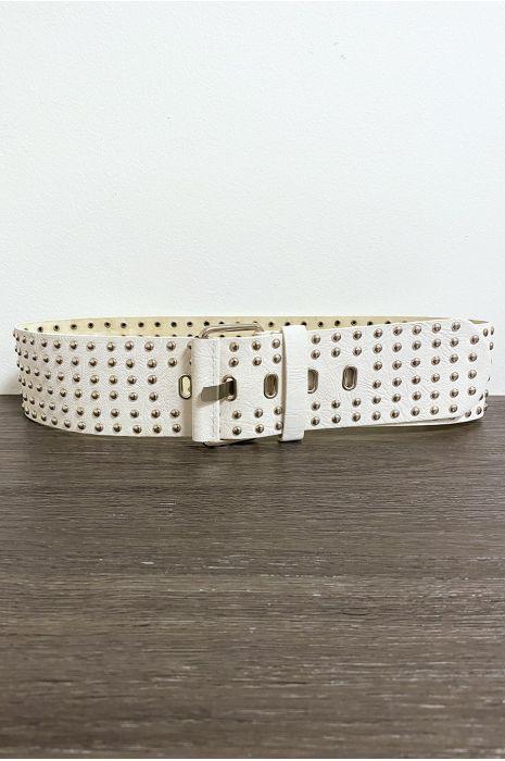 Grosse ceinture beige avec strass doré