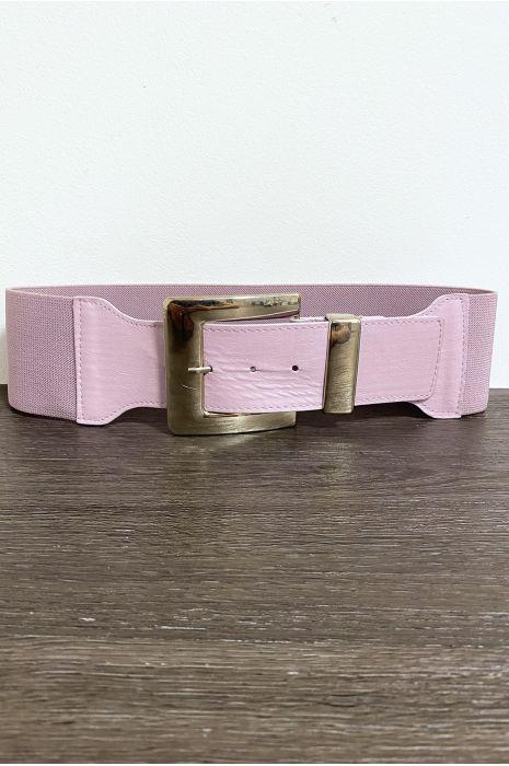 Grosse ceinture lila avec boucle argenté et élastique à la taille