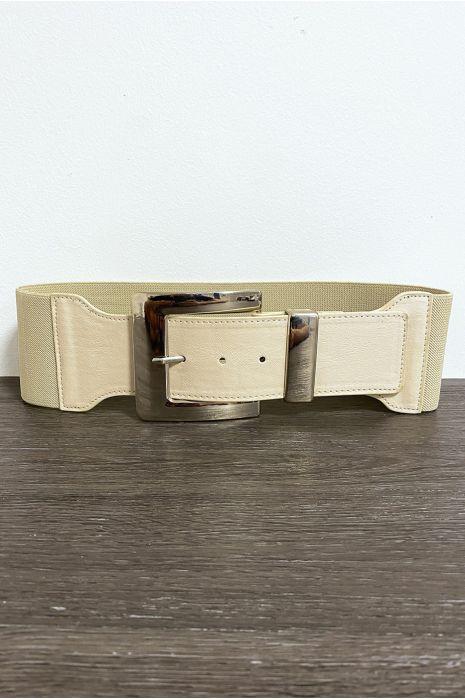Grosse ceinture beige avec boucle argenté et élastique à la taille