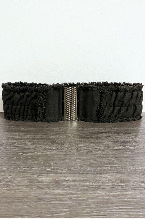 Ceinture en tissu noir élastique avec jolie boucle
