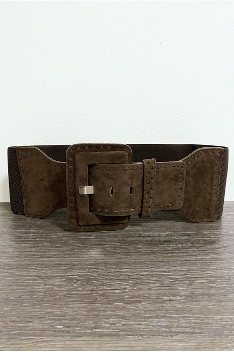 Grosse ceinture en suédine marron avec élastique à la taille