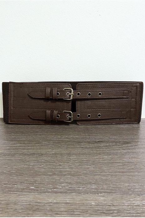Grosse ceinture marron avec deux anneaux et élastique à la taille