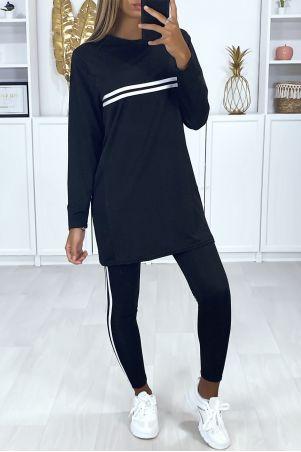 Ensemble sport tunique et leggings noir avec bandes blanche