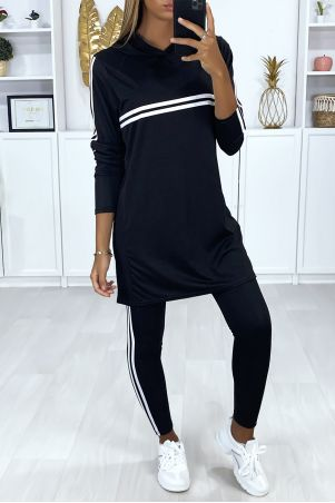 Black tunic and leggings set with white bands