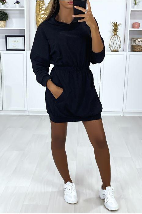 Robe Sweat Noir A Capuche Pour Femme Avec Poches Et Elastique A La Taille