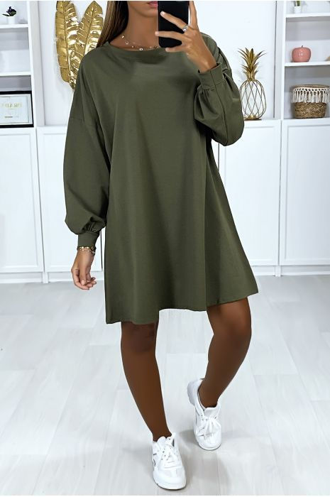 Over Size Khaki Sweatshirt Dress Very Loose And Comfortable To Wear