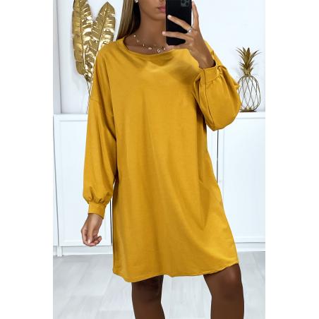 Robe sweat moutarde over-size très ample et agréable à porter