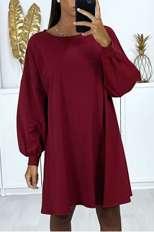 Very loose and comfortable to wear over-size burgundy sweatshirt dress