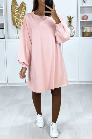 Very loose and comfortable to wear over-size pink sweatshirt dress