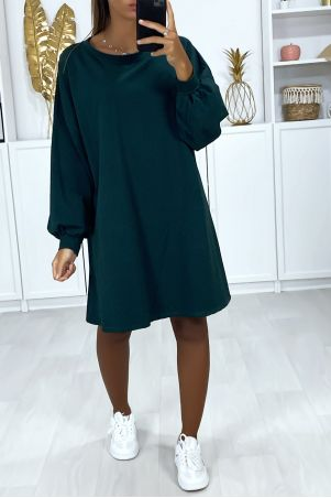 Very loose and comfortable to wear over-size green sweatshirt dress