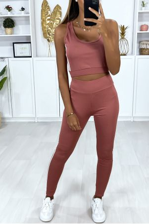 3-piece fitness set fuchsia tank top and vest with white stripe