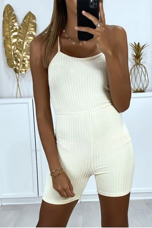 Beige ribbed knit short jumpsuit with lace up back