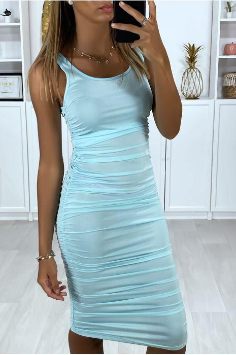 Robe turquoise extensible froncé sur les cotés