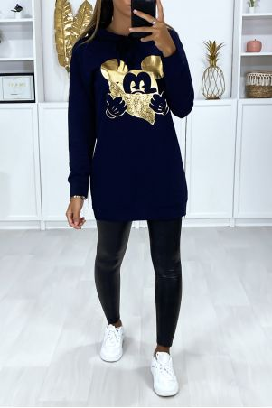 Long navy hoodie with gold design on the front