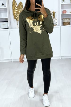 Long khaki hoodie with gold design on the front