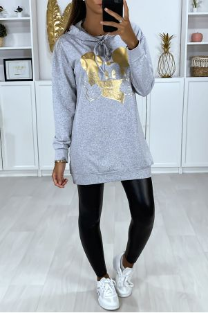 Long gray hoodie with gold design on the front