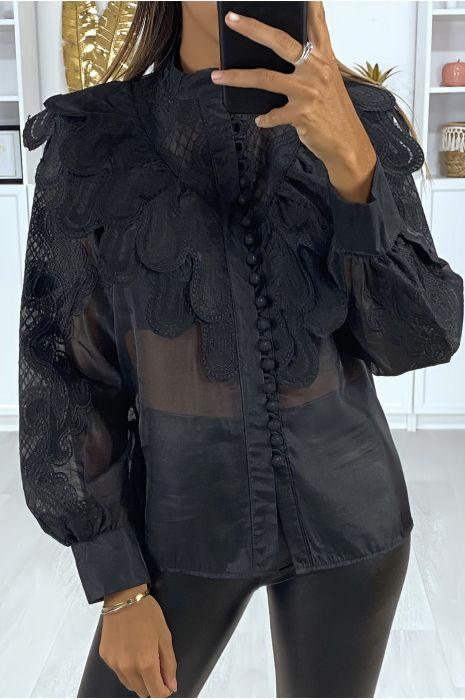 Chemise en voile noir avec broderie