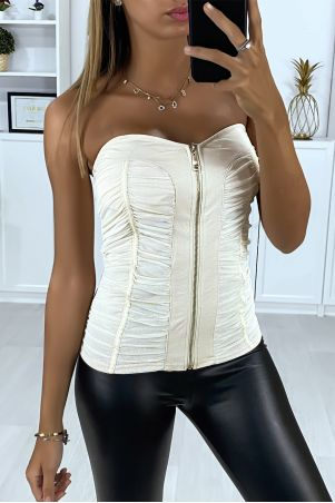Beige bustier with gathers and front closure