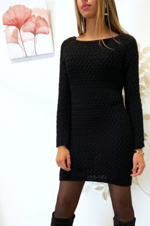 Beautiful black sweater dress nicely braided cinched at the waist