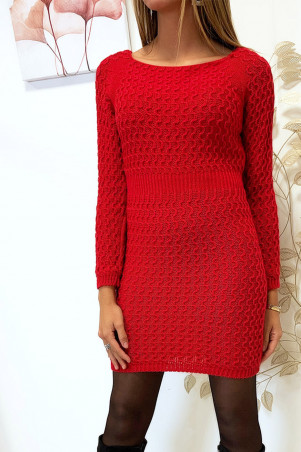 Beautiful red sweater dress nicely braided cinched at the waist