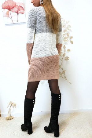Tri-color sweater dress with collar and gray at the top