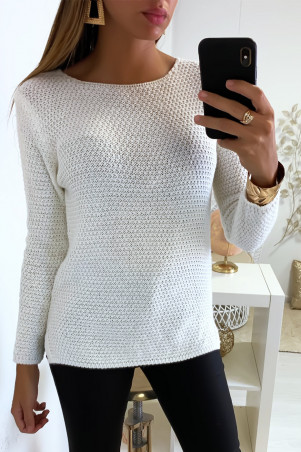 Pretty, very fashionable white sweater braided on the back