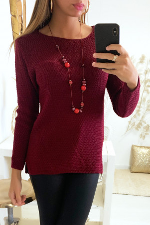 Pretty burgundy sweater very fashionable braided at the back