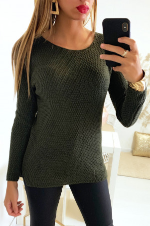 Pretty khaki sweater very fashionable braided on the back