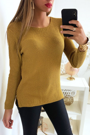 Pretty mustard sweater very fashionable braided at the back