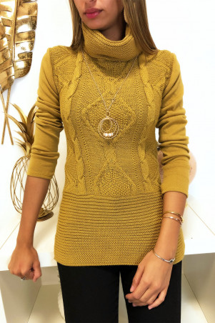 Mustard jumper with braided front collar and collar