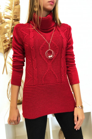 Red sweater with braided high collar at the front with collar