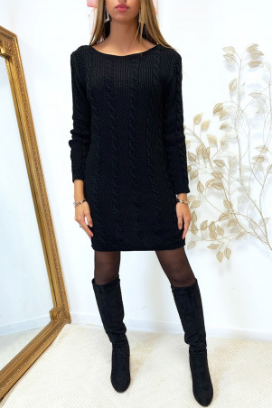 Pretty black cable sweater dress with long sleeves