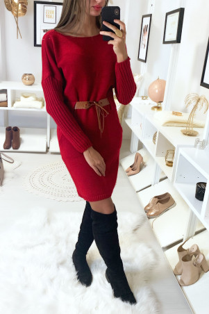 Red sweater dress with pocket and camel belt