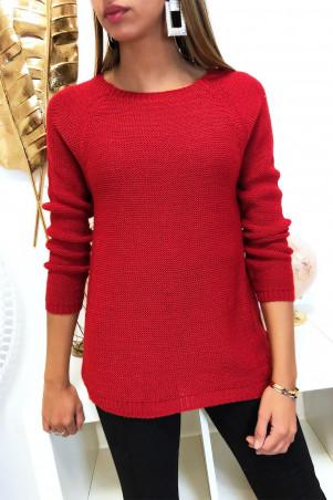Mooie rode trapeze trui, aan de achterkant gevlochten met 3 kleine vlinderlintjes
