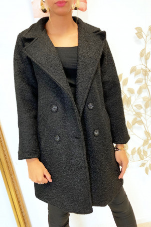 Beautiful double-breasted black coats in a warm lined material