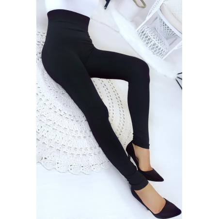 Leggings noir taille haute ventre plat amincissant  jambes affinée et molletonné à l'intérieur