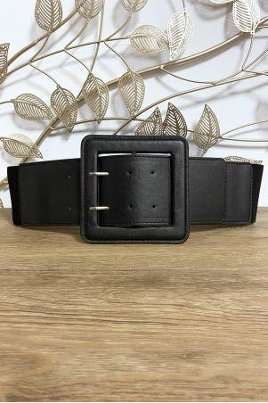 Grosse ceinture noir en simili avec élastique au dos
