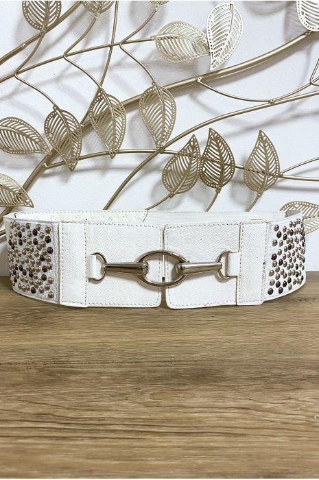 Ceinture blanche avec joli motif perlé sur l'élastique