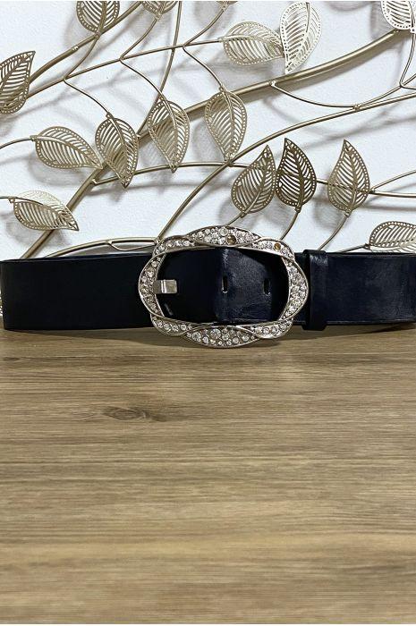 Grosse ceinture noir avec boucle ornée de strass