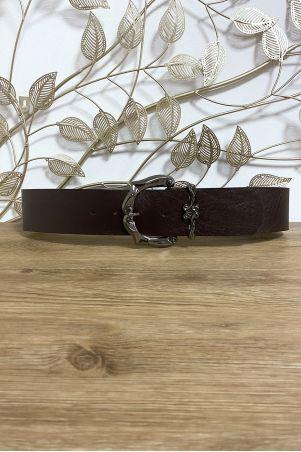 Grosse ceinture marron en simili avec jolie boucle