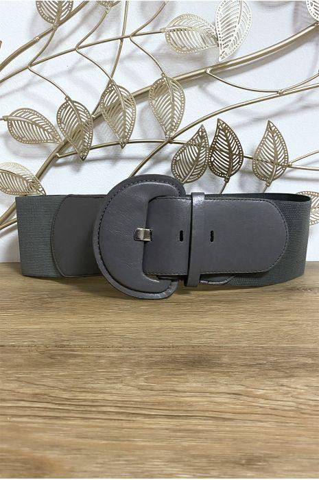 Grosse ceinture grise avec élastique à la taille
