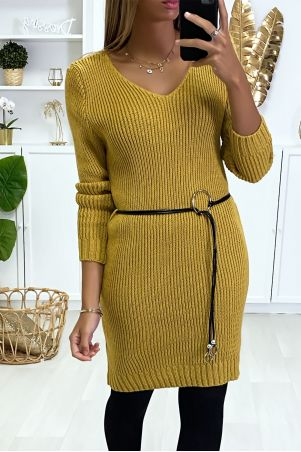 Mustard sweater dress in mesh and faux leather belt.